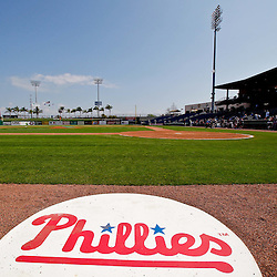 February 24, 2011; Clearwater, FL, USA; A general view prior to a spring training exhibition game between the Philadelphia Phillies the Florida State Seminoles at Bright House Networks Field. Mandatory Credit: Derick E. Hingle