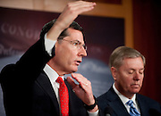 """Feb 1, 2011 - Washington, District of Columbia, U.S. - Senator LINDSEY GRAHAM  (R-SC); and Senator JOHN BARRASSO (R-WY) hold a news conference on legislation to repeal and replace the health care law by allowing states to """"Opt-Out"""" of its major provisions.(Credit Image: © Pete Marovich/ZUMA Press)"""