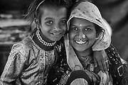 Karnataka State. Mother & daughter on the outskirts of Bangalore.