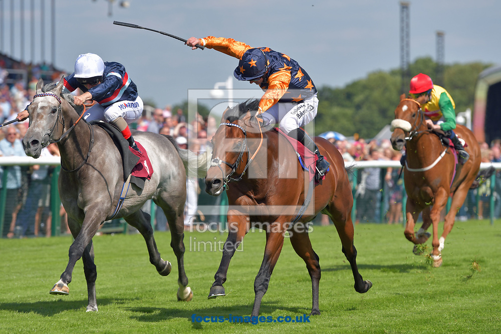 Magical Memory ridden by Andrea Atzeni (white cap) wins bet365 Conditions Stakes during the bet365 Old Newton Cup Day meeting at Haydock Park, Merseyside<br /> Picture by Martin Lynch/Focus Images Ltd 07501333150<br /> 08/07/2017