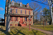 Exterior view of the Gibbon House Museum on sunny winter day, Cumberland County, New Jersey