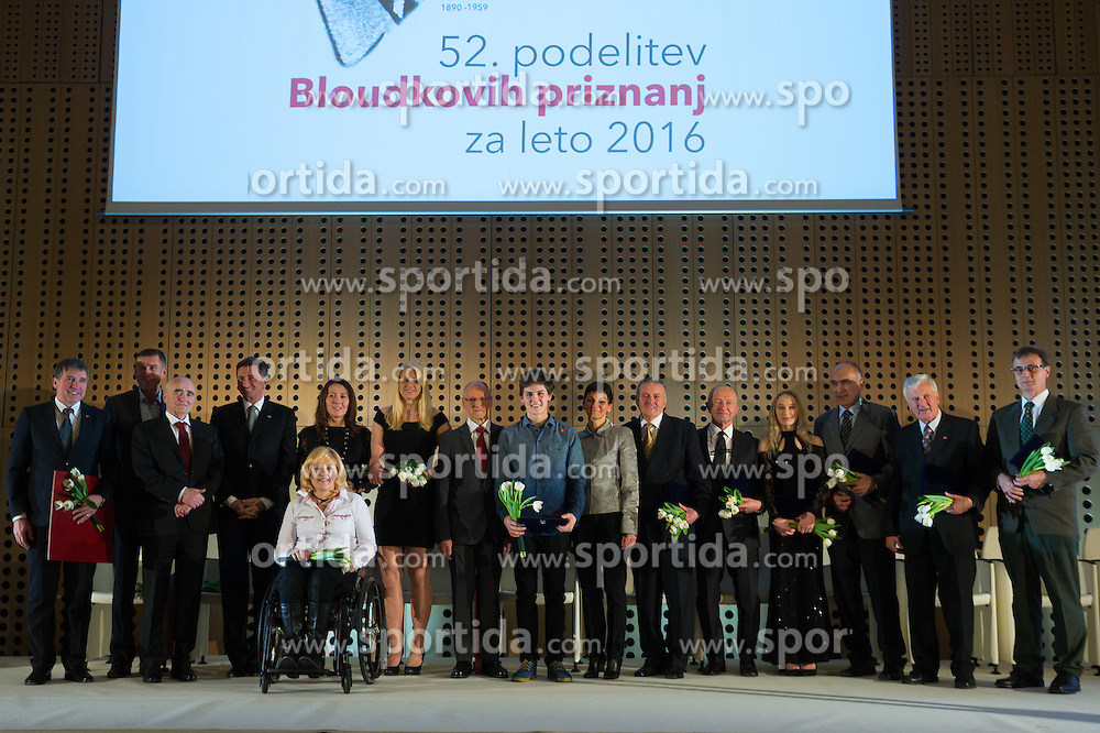 Gabriel Gros, Srecko Katanec, Martin Steiner, Borut Pahor, Veselka Pevec, Anamarija Klementina Velensek, Miroslav Cerar, Domen Skofic, Maja Makovec Brencic, Stanko Kercman, Janez Ivan Hafner, Janja Garnbret and Tomi Partel at 52th Annual Awards of Stanko Bloudek for sports achievements in Slovenia in year 2016 on February 14, 2017 in Brdo Congress Center, Brdo, Ljubljana, Slovenia.  Photo by Martin Metelko / Sportida