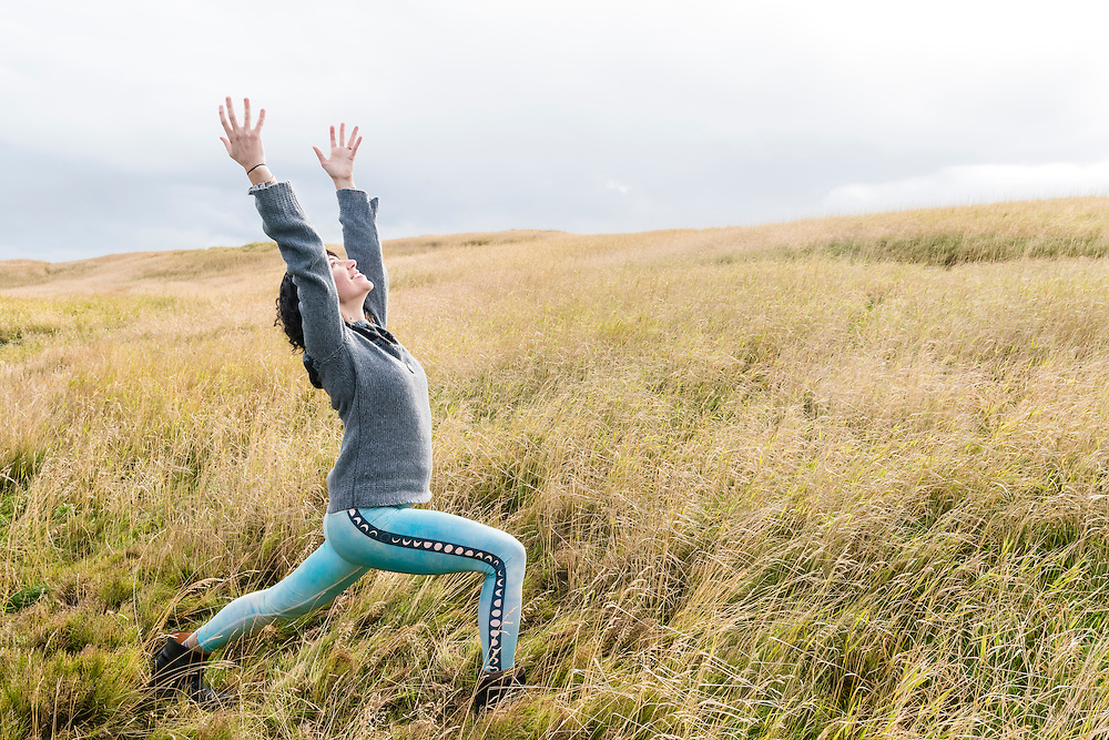 Yogini Jenn Falk on location at Budir on the Snaefellsnes Peninsula, Iceland