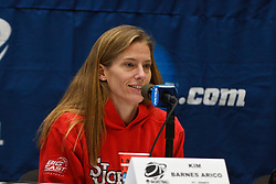 March 18, 2011; Stanford, CA, USA; St. John's Red Storm head coach Kim Barnes Arico speaks during a press conference the day before the first round of the 2011 NCAA women's basketball tournament at Maples Pavilion.