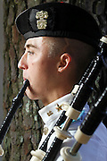Citadel Pipe Band bagpiper, James Jenkins, poses for a portrait during the Highland Games at Stone Mountain Park on Saturday in Stone Mountain. (Staff Photo: David Welker)