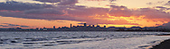 Panoramic Photo of Robert Crown Memorial State Beach Sunset With Downtown San Francisco Skyline in Background, Alameda, California