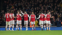 Football - 2019 /2020 FA Cup - Third Round: Arsenal vs. Leeds United.<br /> <br /> Granit Xhaka (Arsenal FC) tries to encourage the fans after Reiss Nelson (Arsenal FC) scores the opening goal at the Emirates Stadium<br /> <br /> COLORSPORT/DANIEL BEARHAM