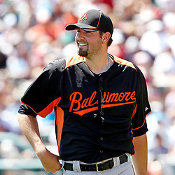March 18, 2012; Lake Buena Vista, FL, USA; Baltimore Orioles pitcher Jason Hammel (39) during a spring training game against the Atlanta Braves at Disney Wide World of Sports complex. Mandatory Credit: Derick E. Hingle-US PRESSWIRE