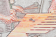 Musicians playing a duet on an orchestral marimba rendering in a textural pastel or crayon-like style. <br /> <br /> For IMAGE LICENSING just click on the &quot;add to cart&quot; button above.<br /> <br /> Fine Art archival paper prints for this image as well as canvas, metal and acrylic prints available here:<br /> https://2-julie-weber.pixels.com/featured/toccata-julie-weber.html