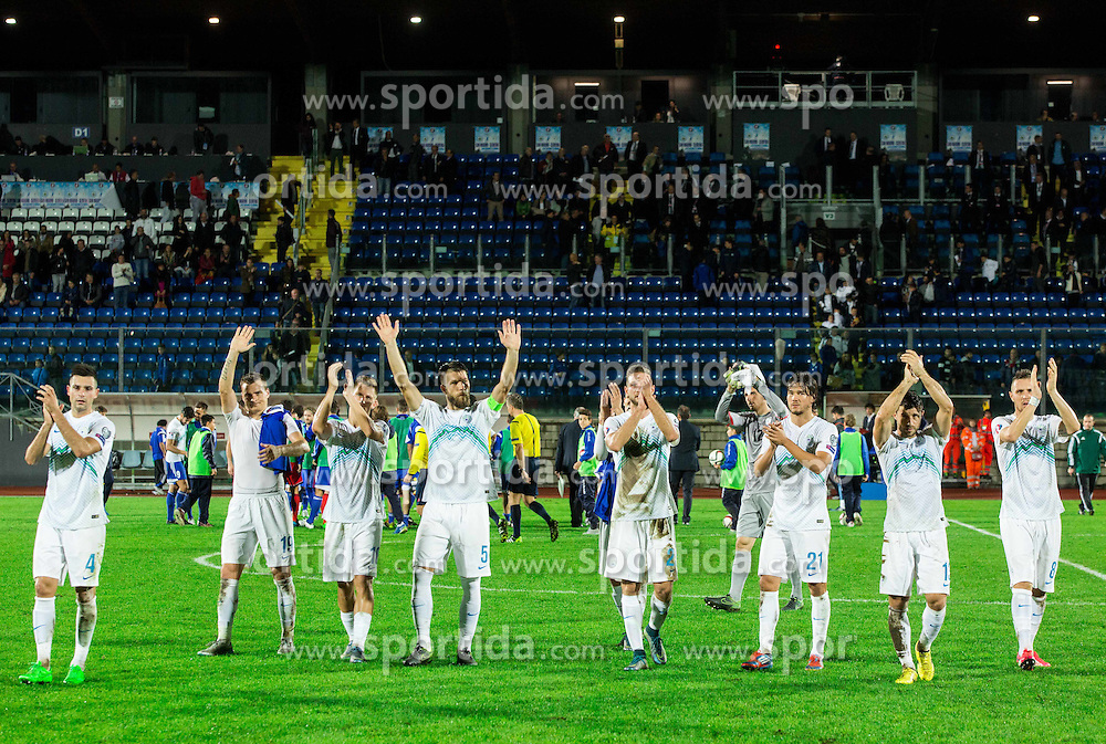 Players of Slovenia celebrate after winning during football match between National teams of San Marino and Slovenia in Group E of EURO 2016 Qualifications, on October 12, 2015 in Stadio Olimpico Serravalle, Republic of San Marino. Photo by Vid Ponikvar / Sportida