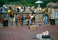 Band at Bethesda Terrace playing music to support 500 years of Indian resistance; Central Park, New York City, 1992.