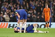 Andreas Christensen of Chelsea (27) down with an injury during the Champions League group stage match between Chelsea and PAOK Salonica at Stamford Bridge, London, England on 29 November 2018.