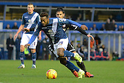 Birmingham City midfielder Jacques Maghoma turns Brentford defender Maxime Colin during the Sky Bet Championship match between Birmingham City and Brentford at St Andrews, Birmingham, England on 2 January 2016. Photo by Alan Franklin.