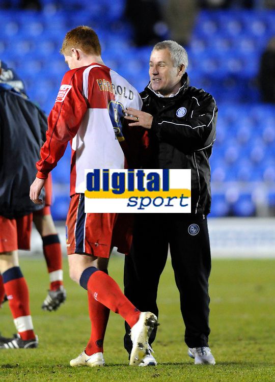 Photo: Paul Greenwood/Richard Lane Photography. Shrewbury Town v Wycombe Wanderers. Coca Cola Two. 20/12/2008. <br />Wycombe manager Peter Taylor congratulates goal scorer Matt Harrold at the end of the game.