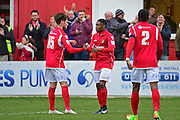 Ebbsfleet United midfielder Sean Shields (15) celebrates with goal scorer Ebbsfleet United forward Darren McQueen (16) 6-1 during the Vanarama National League South match between Ebbsfleet United and East Thurrock United at the Enclosed Ground, Whitehawk, United Kingdom on 4 March 2017. Photo by Jon Bromley.