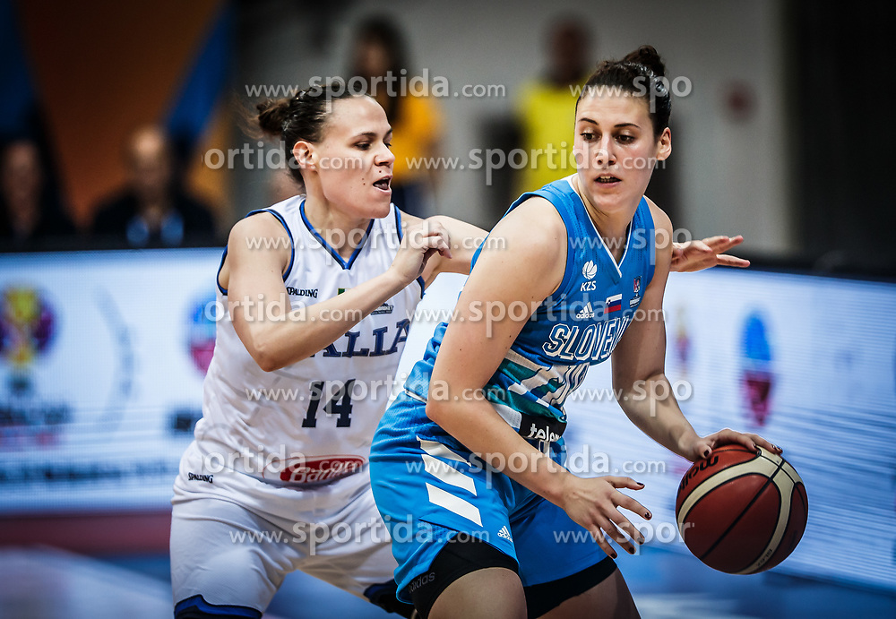 Martina Crippa of Italy vs Tina Jakovina of Slovenia during basketball match between Women National teams of Italy and Slovenia in Group phase of Women's Eurobasket 2019, on June 30, 2019 in Sports Center Cair, Nis, Serbia. Photo by Vid Ponikvar / Sportida