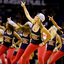 Jan 28, 2016; New Orleans, LA, USA; New Orleans Pelicans dance team performs during the second half of a game against the Sacramento Kings at the Smoothie King Center. The Pelicans defeated the Kings 114-105. Mandatory Credit: Derick E. Hingle-USA TODAY Sports