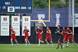 SOUTH BEND, INDIANA, USA - Thursday, July 18, 2019: Liverpool's James Milner, Andy Robertson, Sepp van den Berg, Adam Lallana, Ki-Jana Hoever and Bobby Duncan during a training session ahead of the friendly match against Borussia Dortmund at the Notre Dame Stadium on day three of the club's pre-season tour of America. (Pic by David Rawcliffe/Propaganda)