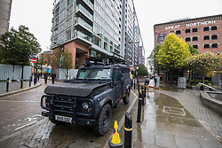 © Licensed to London News Pictures . 01/10/2017. Manchester, UK. A militarised Greater Manchester Police Jeep parked outside Great Northern Warehouse at the start of the first day of the conference . The Conservative Party Conference at the Manchester Central Convention Centre . Photo credit: Joel Goodman/LNP