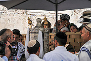 Bar Mitzvah ceremony at the wailing wall, Old City, Jerusalem, Israel