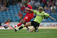 Photo: Lee Earle.<br /> Crystal Palace v Sheffield United. Coca Cola Championship. 22/09/2007. Tom Soares (L) is tackled by United's Jonathan Stead.
