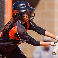 030113       Cable Hoover<br /> <br /> Gallup Bengal Richelle Yazzie (15) bunts the ball to the St. Pius Spartans Saturday at Gallup High School.