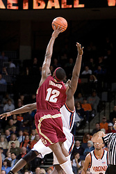 Florida State Seminoles forward Al Thornton (12) win the opening tip off against Virginia.  The Virginia Cavaliers Men's Basketball Team defeated the Florida State Seminoles 73-70 at the John Paul Jones Arena in Charlottesville, VA on February 17, 2007.