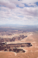 Scenic view of Canyonlands National Park with thunderclouds near Moab, Utah.