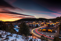 """Downtown Truckee 64"" - Winter sunset photograph of Historic Downtown Truckee, California."