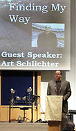 Art Schlichter speaks at Centerville United Methodist Church on Sunday night.