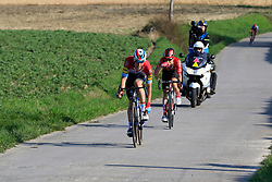The breakaway group led by Luxembourg National Champion Bob Jungels (LUX) Deceuninck-Quick Step and Marc Hirschi (SUI) Team Sunweb descend off Paterberg during the 2019 E3 Harelbeke Binck Bank Classic 2019 running 203.9km from Harelbeke to Harelbeke, Belgium. 29th March 2019.<br /> Picture: Eoin Clarke | Cyclefile<br /> <br /> All photos usage must carry mandatory copyright credit (© Cyclefile | Eoin Clarke)