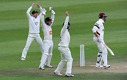 The Sussex slip cordon react as Somerset's Marcus Trescothick survives an LBW. - Photo mandatory by-line: Harry Trump/JMP - Mobile: 07966 386802 - 08/07/15 - SPORT - CRICKET - LVCC - County Championship Division One - Somerset v Sussex- Day Four - The County Ground, Taunton, England.