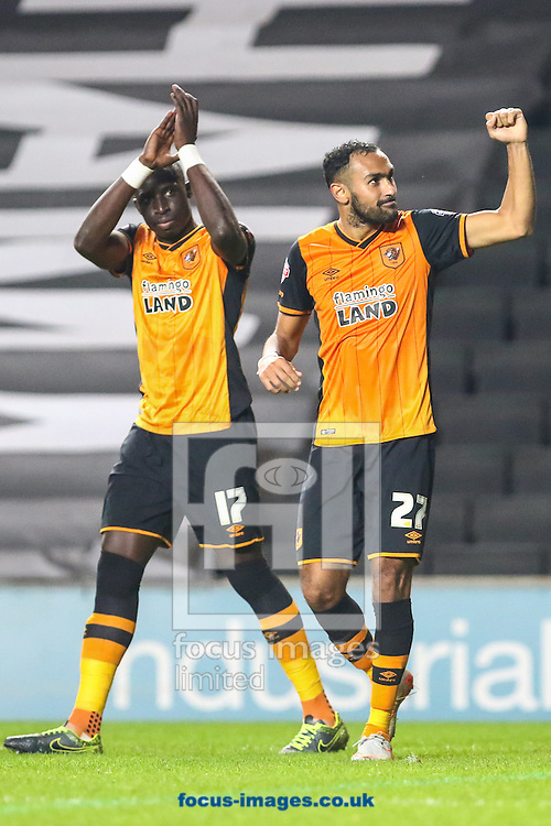 Mohamed Diame of Hull City (left) celebrates scoring his team's second goal against Milton Keynes Dons to make it 0-2 with Ahmed Elmohamady of Hull City (right) during the Sky Bet Championship match at stadium:mk, Milton Keynes<br /> Picture by David Horn/Focus Images Ltd +44 7545 970036<br /> 31/10/2015