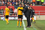 Wolverhampton Wanderers manager Nuno Espirito Santo gives instructions to Leander Dendoncker (32) of Wolverhampton Wanderers during the The FA Cup 5th round match between Bristol City and Wolverhampton Wanderers at Ashton Gate, Bristol, England on 17 February 2019.