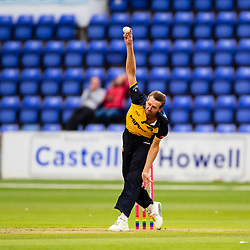 Michael Hogan of Glamorgan in action today <br /> Photographer Simon King/Replay Images<br /> <br /> Vitality Blast T20 - Round 8 - Glamorgan v Essex - Friday 9th August 2019 - Sophia Gardens - Cardiff<br /> <br /> World Copyright © Replay Images . All rights reserved. info@replayimages.co.uk - http://replayimages.co.uk