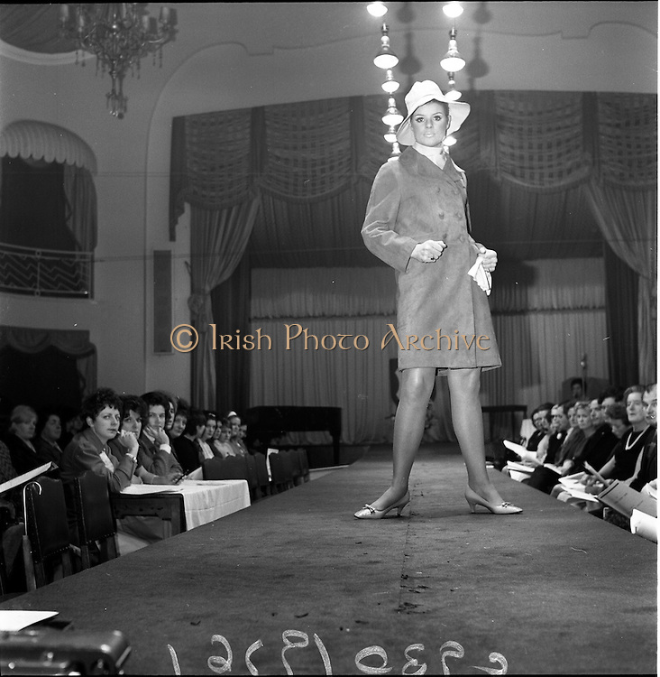 13/11/1967<br /> 11/13/1967<br /> 13 November 1967<br /> Irish Leather Federation, Leather Fashions at the Gresham Hotel, Dublin.<br /> Blue grain leather coat by Suedes of Ireland.