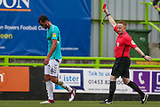 Forest Green Rovers Farrend Rawson(6) is shown a straight red card, sent off during the EFL Sky Bet League 2 match between Forest Green Rovers and Port Vale at the New Lawn, Forest Green, United Kingdom on 8 September 2018.