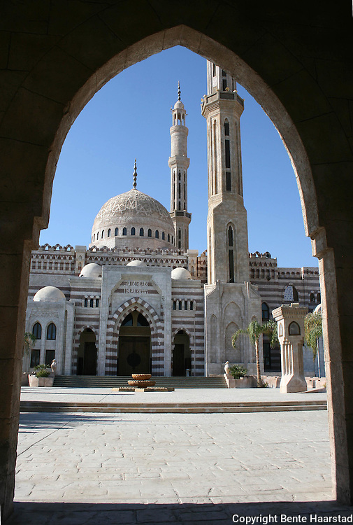 Al Mustafa mosque in Sharm el-Sheikh. It cost a fortune (at least 1 bill. EGP) and was finished in 2008. The minarets are 72 meter tall.