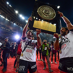 Maxime Medard and Yoann Huget of Toulouse celebrate the victory with the trophy during the Top 14 Final match between Toulouse and Clermont at Stade de France on June 15, 2019 in Paris, France. (Photo by Anthony Dibon/Icon Sport)