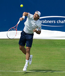 LIVERPOOL, ENGLAND - Thursday, June 16, 2011: Fernando Gonzalez (CHI) in action during day one of the Liverpool International Tennis Tournament at Calderstones Park. (Pic by David Rawcliffe/Propaganda)