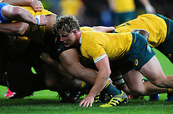 Michael Hooper of Australia in action at a scrum - Mandatory byline: Patrick Khachfe/JMP - 07966 386802 - 08/10/2016 - RUGBY UNION - Twickenham Stadium - London, England - Argentina v Australia - The Rugby Championship.