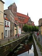 Nikolaikirche, Kanal Frische Grube/Mühlengrube, Altstadt, Wismar, Mecklenburg-Vorpommern, Deutschland | Nicolai church, Mühlengrube/Frische Grube, old town, Wismar, Mecklenburg-Vorpommern, Germany