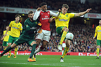 Football - 2017 / 2017 EFL (League) Cup - Fourth Round: Arsenal vs. Norwich City<br /> <br /> Chuba Akpom of Arsenal is foiled by Christoph Zimmermann and Norwich goalkeeper Angus Gunn at The Emirates.<br /> <br /> COLORSPORT/ANDREW COWIE