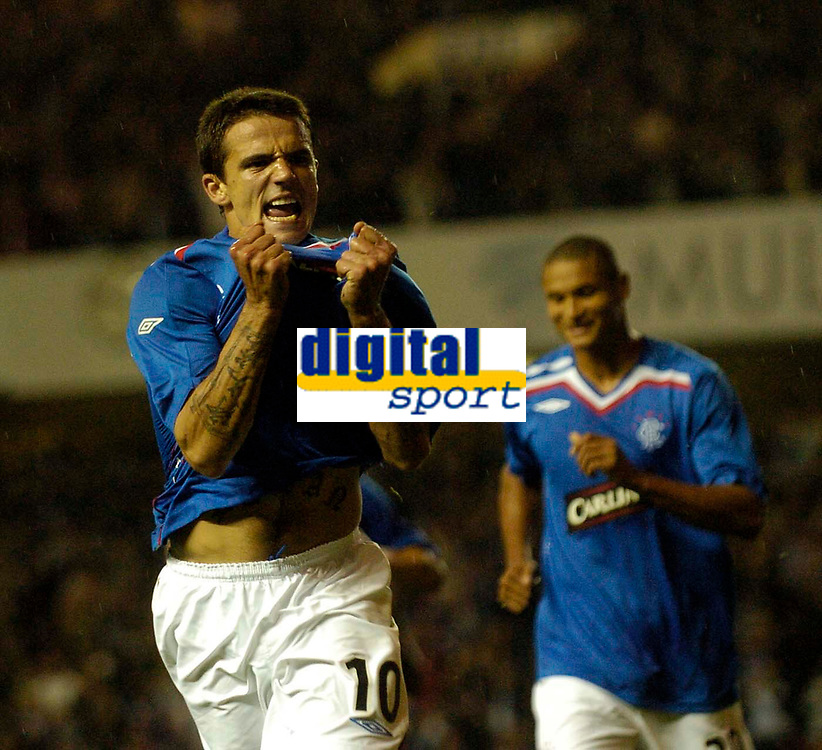 Photo: Jed Wee/Sportsbeat Images.<br /> Glasgow Rangers v Crvena Zvezda. UEFA Champions League Qualifying. 14/08/2007.<br /> <br /> Rangers substitute Nacho Novo celebrates after scoring in injury time to clinch a precious 1-0 win.
