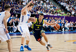 Lauri Markkanen of Finland vs Aleksej Nikolic of Slovenia during basketball match between National Teams of Finland and Slovenia at Day 3 of the FIBA EuroBasket 2017 at Hartwall Arena in Helsinki, Finland on September 2, 2017. Photo by Vid Ponikvar / Sportida