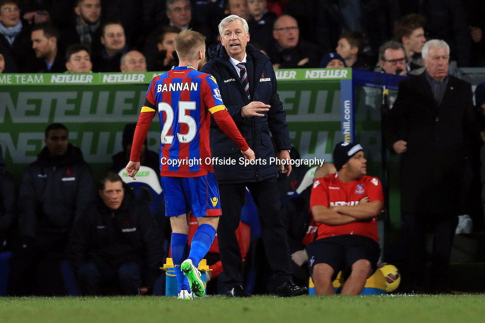 10 January 2015 - Barclays Premier League - Crystal Palace v Tottenham Hotspur - Alan Pardew manager of Crystal Palace speaks with Barry Bannan - Photo: Marc Atkins / Offside.