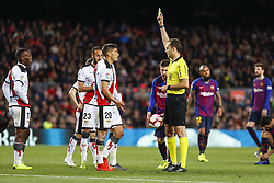 March 9, 2019 - Barcelona, Catalonia, Spain - The referee shows the yellow card to Rayo Vallecano defender Emiliano Velazquez (20) during the match FC Barcelona v Rayo Vallecano, for the round 27 of La Liga played at Camp Nou  on 9th March 2019 in Barcelona, Spain. (Credit Image: © Mikel Trigueros/NurPhoto via ZUMA Press)