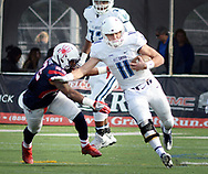 Villanova's quarterback Kyle McCloskey (11) runs for a short gain as he is chased by Richmond's Dale Matthews (22) in the second quarter Saturday, November 04, 2017 at Villanova Stadium in Villanova, Pennsylvania. (WILLIAM THOMAS CAIN / For The Philadelphia Inquirer)