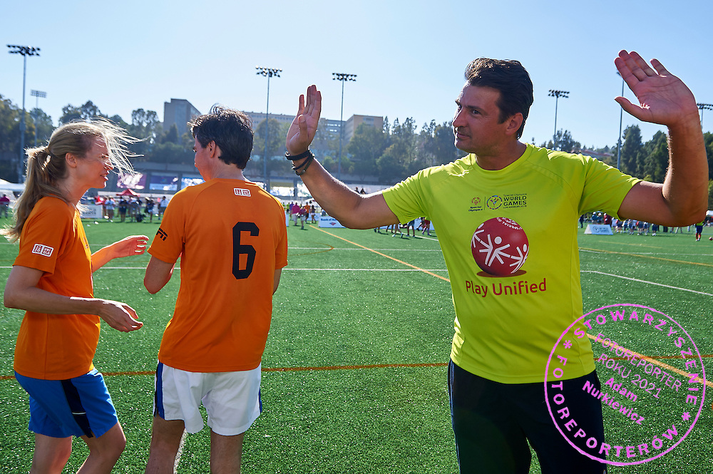 Vladimir Grbic SO Ambassador in action while Unified Sports Experience Football 5-a-side match during fourth day of the Special Olympics World Games Los Angeles 2015 on July 28, 2015 at Intramural Fields UCLA (University of California, Los Angeles) in Los Angeles, USA.<br /> <br /> USA, Los Angeles, July 28, 2015<br /> <br /> Picture also available in RAW (NEF) or TIFF format on special request.<br /> <br /> For editorial use only. Any commercial or promotional use requires permission.<br /> <br /> Adam Nurkiewicz declares that he has no rights to the image of people at the photographs of his authorship.<br /> <br /> Mandatory credit:<br /> Photo by &copy; Adam Nurkiewicz / Mediasport