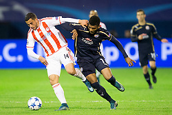 Omar Elabdellaoui #14 of Olympiakos and Junior Fernandez #11 of GNK Dinamo Zagreb during football match between GNK Dinamo Zagreb and Olympiakos in Group F of Group Stage of UEFA Champions League 2015/16, on October 20, 2015 in Stadium Maksimir, Zagreb, Croatia. Photo by Urban Urbanc / Sportida